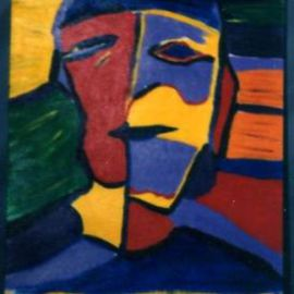 Paul Fucci: 'Philosopher', 1996 Acrylic Painting, Abstract Figurative.