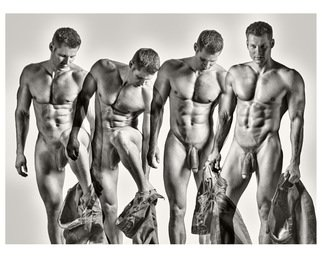 Hans Fahrmeyer: 'Collage 010', 2015 Silver Gelatin Photograph, Nudes. Artist Description:  men, nude, penis, collageerotic. Male, Guy white guy ...