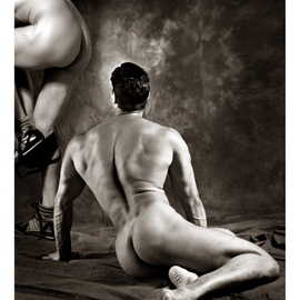 Hans Fahrmeyer: 'the male nude7', 2017 Black and White Photograph, Nudes. Artist Description: men, nude, butt, undressingerotic. Male, ...
