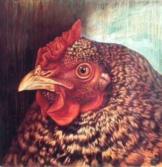 Hans Droog Artwork 'Eleanor 3 The Dominiquer Hen', 1997. Oil Painting. Animals. Artist Description: Portrait of a mature Dominiquer chicken. ......