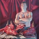 Self Portrait with slaughtered cow heads By Hans Droog