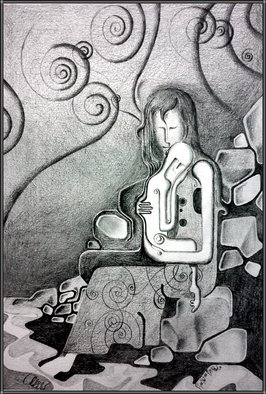 Abstract Figurative Pencil Drawing by Orhan Atici Title: After The Storm, created in 2012