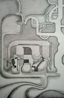 Abstract Figurative Pencil Drawing by Orhan Atici Title: Milk, created in 2012