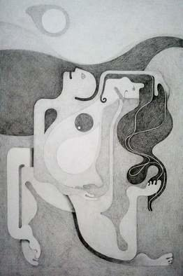 Abstract Figurative Pencil Drawing by Orhan Atici Title: The Pleasure, created in 2012
