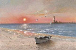 Nicolo Sturiano Artwork Coastal sunset, 2013 Oil Painting, Seascape