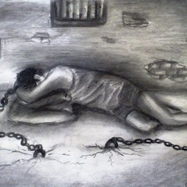 Haris Imtiyaz Khan Artwork prison of life, 2009 Charcoal Drawing, Conceptual