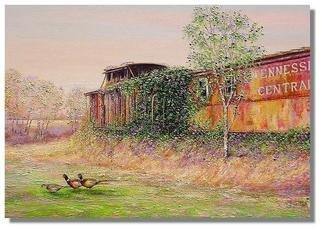 Trains Oil Painting by I. Joseph Title: Last Stop Grange Hall road, created in 2005