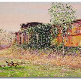 I. Joseph: 'Last Stop Grange Hall road', 2005 Oil Painting, Trains. Artist Description: impressionism, country scenes...