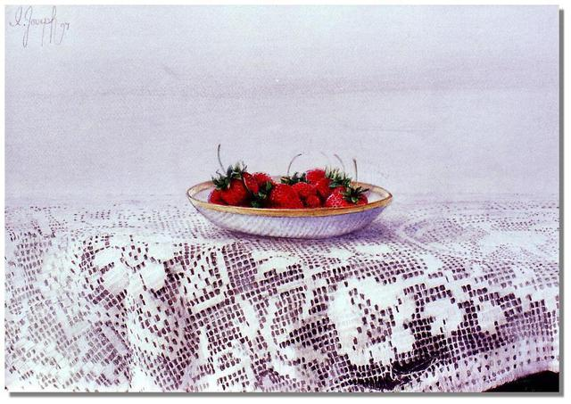I. Joseph  'Strawberries And Lace', created in 1999, Original Painting Oil.