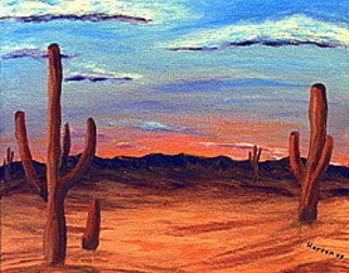 Donald Harter: 'Cactuses', 2008 Acrylic Painting, nature.  Cactuses growing in the desert sun with distant hills. ...