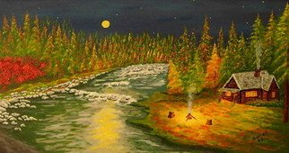 Landscape Acrylic Painting by Donald Harter Title: Honeymoon Cabin, created in 2005