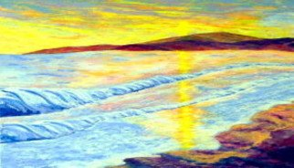 Landscape Acrylic Painting by Donald Harter Title: Lost Island Sunset, created in 2007