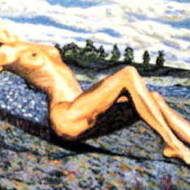 Donald Harter: 'Nude Nature Woman in Landscape', 2007 Acrylic Painting, Nudes. Artist Description:  Nude Nature Woman in Landscape is a woman getting some sun on a warm rock.  ...