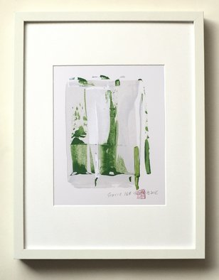 Sia Aryai: 'static 184', 2018 Acrylic Painting, Abstract. Artist Description: Bold energetic green race across the palest white background. the emerald green color is so bright looks amazing in a white frame.Painting is 8X10aEUR heavyweight watercolor paper comes custom- framed in a 13X17X1. 2aEUR  white shadow box  Signed, dated and stamped on the front ready to hang.  ...