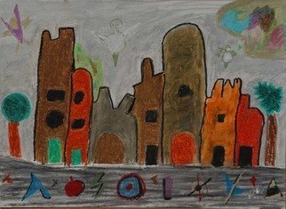 Harris Gulko: 'A Childish View of Downtown', 2004 Oil Painting, Fantasy. I guided and supervised a grandchild who said she wants to i? 1/2paint like a grown- upi? 1/2...