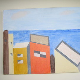 Harris Gulko: 'Houses in Jaffa', 2006 Oil Painting, Home. Artist Description: Houses at the seashore in Jaffa , Israel   file 6203...