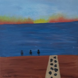 Three Guys at the Shore  By Harris Gulko