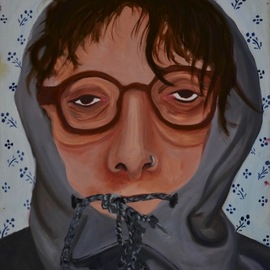 Hannah Weissman: 'mirror', 2019 Oil Painting, Humor. Artist Description: A self portrait of my morning self. ...