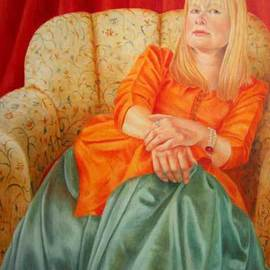 Heather Hyatt: 'Lady Carolyn', 2006 Oil Painting, Portrait. Artist Description:  'Lady Carolyn' ( owned by Lady Carolyn) is a take on John Singer Sargent' s Lady Agnew. ...