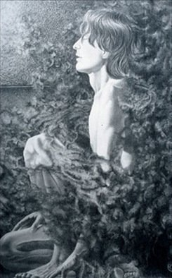 Pencil Drawing by Heather Hyatt titled: Marco Lombardo   Wrath, 2002