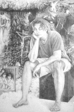 Pencil Drawing by Heather Hyatt titled: Reason Sleeping Brings Forth Monsters, 2005