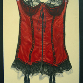 Heather Hyatt: 'Red Bustier', 2008 Oil Painting, Still Life. Artist Description:  ' Red Bustier' is oil on canvas mounted in a shadow box.  The style is trompe l' oeil.   ...