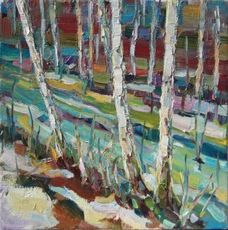 Olesya Smirnova: 'spring in the wood', 2017 Oil Painting, Impressionism. Artist Description: Work is written on an open- air in the spring of 2017 in the Gorensky wood  Moscow . Beauty of the Russian wood always inspires me...