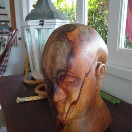 Helder Leite: 'monk hope', 2020 Wood Sculpture, Figurative. Artist Description: This unique piece is called aEURoeThe Monk HopeaEURThis wooden sculpture is made of a wood called Indian Fig Tree, with well- highlighted veins and symbolizes hope for all mankind in times of global crisis.  His serene face brings us tranquility to go through periods of great instability.  ...