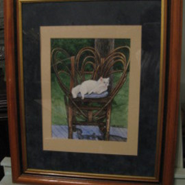 Heidi Bacon Artwork White Cat on Chair, 1990 Giclee - Open Edition, Cats