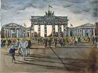 Heinz Sterzenbach  'Brandenburger Tor  Gate Of Brandenburg', created in 1989, Original Mixed Media.