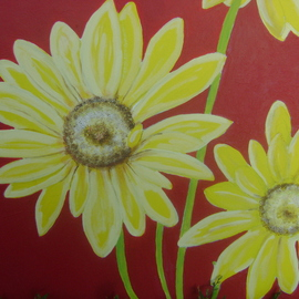 Helen Hachmeister Artwork yellow flowers, 2008 Acrylic Painting, Floral