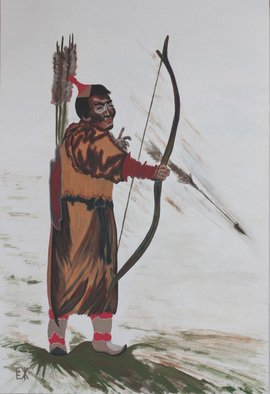 Elena Zhogina: 'Mongol bowhunter, archer', 2011 Tempera Painting, Sports. Artist Description: Archery is so interesting form me. I assume it requires certain meditation mood when an arhcer is completely concentrated on the goal. I tiny moment and the arrow is gone. Mongolians are so exotic with their high cheek bones, wide skulls, shining black hair and olive skin. May ...