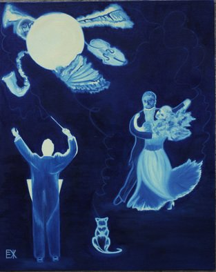 Music Oil Painting by Elena Zhogina Title: Moon melody, created in 2011