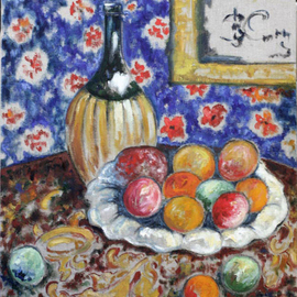 Elena Zhogina: 'Still life with fruit and carafe, copy by Alexandra Exter', 2010 Oil Painting, Still Life. Artist Description: Alexandra Exter a painter from Ukraine of mid 20th century whom I greatly admire. She is considered to be one of the first Russian cubists. But for me revelation was to see how she developed her style of expressing movement of color and change of color forms. Its ...