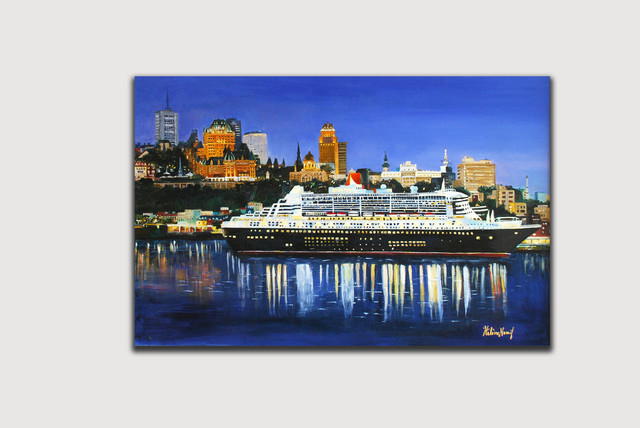 Helena Khoury Nassif  'Queen Mary Boat In Quebec', created in 2010, Original Painting Acrylic.