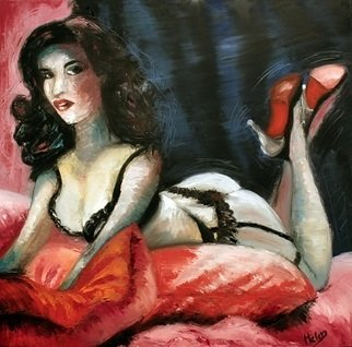 Artist: Helen Duchonova - Title: Lady inviting for love - Medium: Oil Painting - Year: 2012