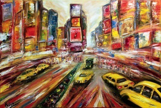 Helen Bellart  'New York Broadway', created in 2012, Original Painting Oil.