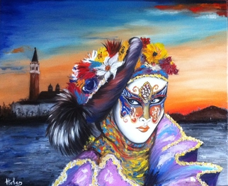 Artist: Helen Duchonova - Title: Venetian mask - Medium: Oil Painting - Year: 2014