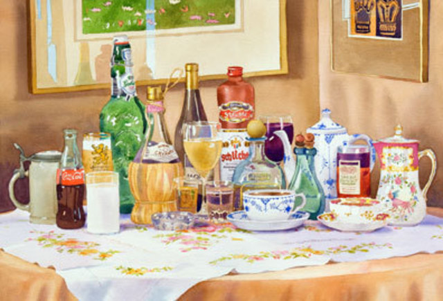 Mary Helmreich  'A Collection Of Drinks By Mary Helmreich', created in 2009, Original Printmaking Giclee.