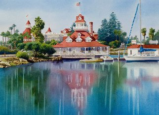 Artist: Mary Helmreich - Title: Coronado Boathouse Reflected by Mary Helmreich - Medium: Watercolor - Year: 2010