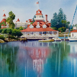 Coronado Boathouse Reflected By Mary Helmreich, Mary Helmreich