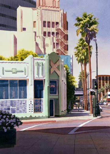 Mary Helmreich  'Gale Cafe On Wilshire Blvd Bu Mary Helmeich', created in 2006, Original Printmaking Giclee.