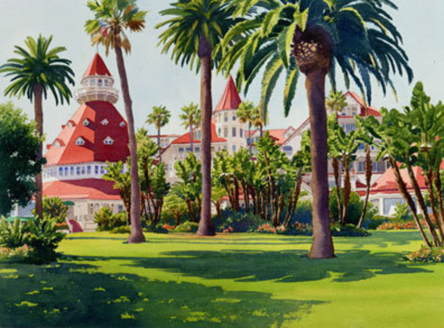 Mary Helmreich  'Hotel Del Coronado By Mary Helmreich', created in 2008, Original Printmaking Giclee.