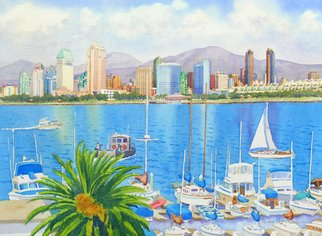 Mary Helmreich: 'San Diego Fantasy by Mary Helmreich', 2013 Watercolor, Scenic. This is my latest watercolor painting.I' ve painted & sold many watercolor paintings over the past 30 years. This is one of my best. It' s quintessential San Diego: Dream & reality.  ...