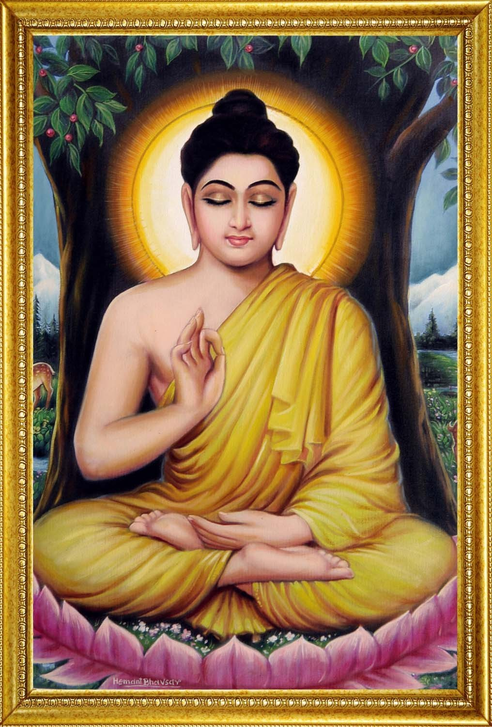 Hemant Bhavsar Artwork: Lord Buddha Portrait painting ...