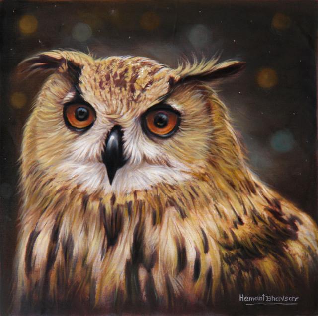 hemant bhavsar artwork the owl portrait painting original