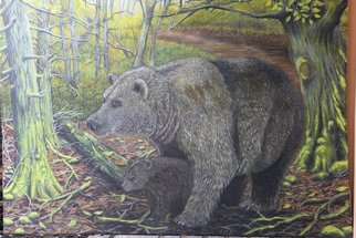 Hendik Azharmoko Artwork grizzly bears, 2017 Oil Painting, Animals