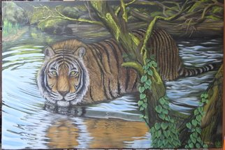 Hendik Azharmoko Artwork tiger in water, 2017 Oil Painting, Animals