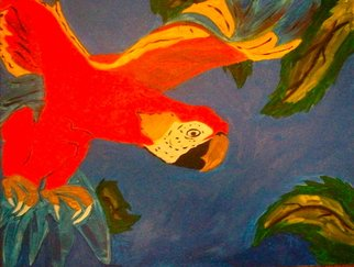 Henry Funches: 'FLIGHT the red parrot ', 2012 Oil Painting, Animals.  flight , the red parrot  , should train , don cornelius   beauty    , illusion, the illustrious illusion  whitney houston, whitney , bobby brown , she flows  the birth , the bith in full color . i , i love art, henryafunches, h. funches3rd, live out loud  , travon martin, sean bell, malcolm x, white house, no justice, just us, her...