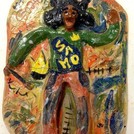 Henry Funches: 'i am basquiat ', 2013 Ceramic Sculpture, People. Artist Description:   , basquiat, picasso, h. funches  dancing with color , dance smile laugh , chasing color pt2, flight , the red parrot  , should train , don cornelius   beauty    , illusion, the illustrious illusion  whitney houston, whitney , bobby brown , she flows  the birth , the bith in full color . i , i love art, henryafunches, h. funches3rd, live ...
